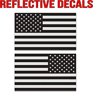 Classic Biker Gear Ghosted Subdued American Flag car Decal, Silver with ghosted Black Print, 1.8