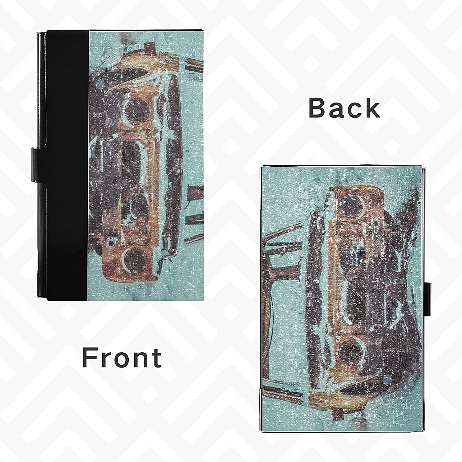 OTVEE Broken Car in Snow Business Card Holder Wallet Stainless Steel & Leather Pocket Business Card Case Organizer Slim Name Card ID Card Holders Credit Card Wallet Carrier Purse for Women Men