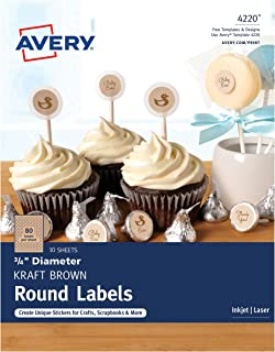 Avery Kraft Brown Print-to-the-Edge Round Labels, 3/4
