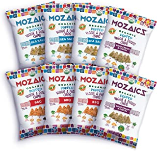 Mozaics Organic Popped Veggie & Potato Chips- Healthy snack, ~100 calorie snack, better than veggie straws or stix - gluten free - 3.5oz big bags (Best Sellers, 8-count)