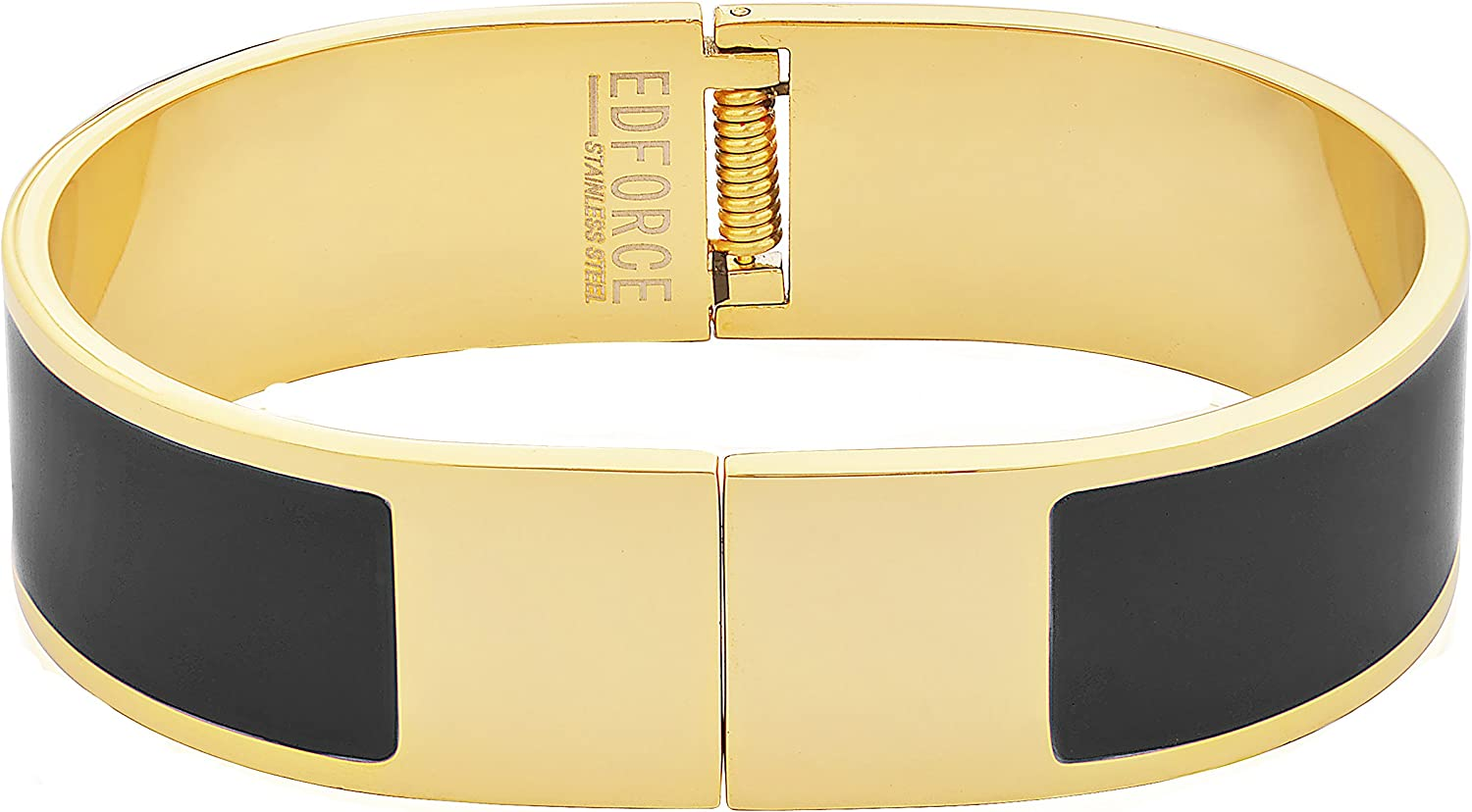 EDFORCE Stainless Steel Women's Gold Plated   H Shaped Buckle Bracelet   Bangle Colored Enameled Colored Stackable, 64mm Diameter (2.6in)