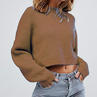 PKYGXZ Otoño e Invierno Suelto de Manga Larga suéter Umbilical Salvaje suéter de Moda Casual Jerséis de Punto con Cable Su...