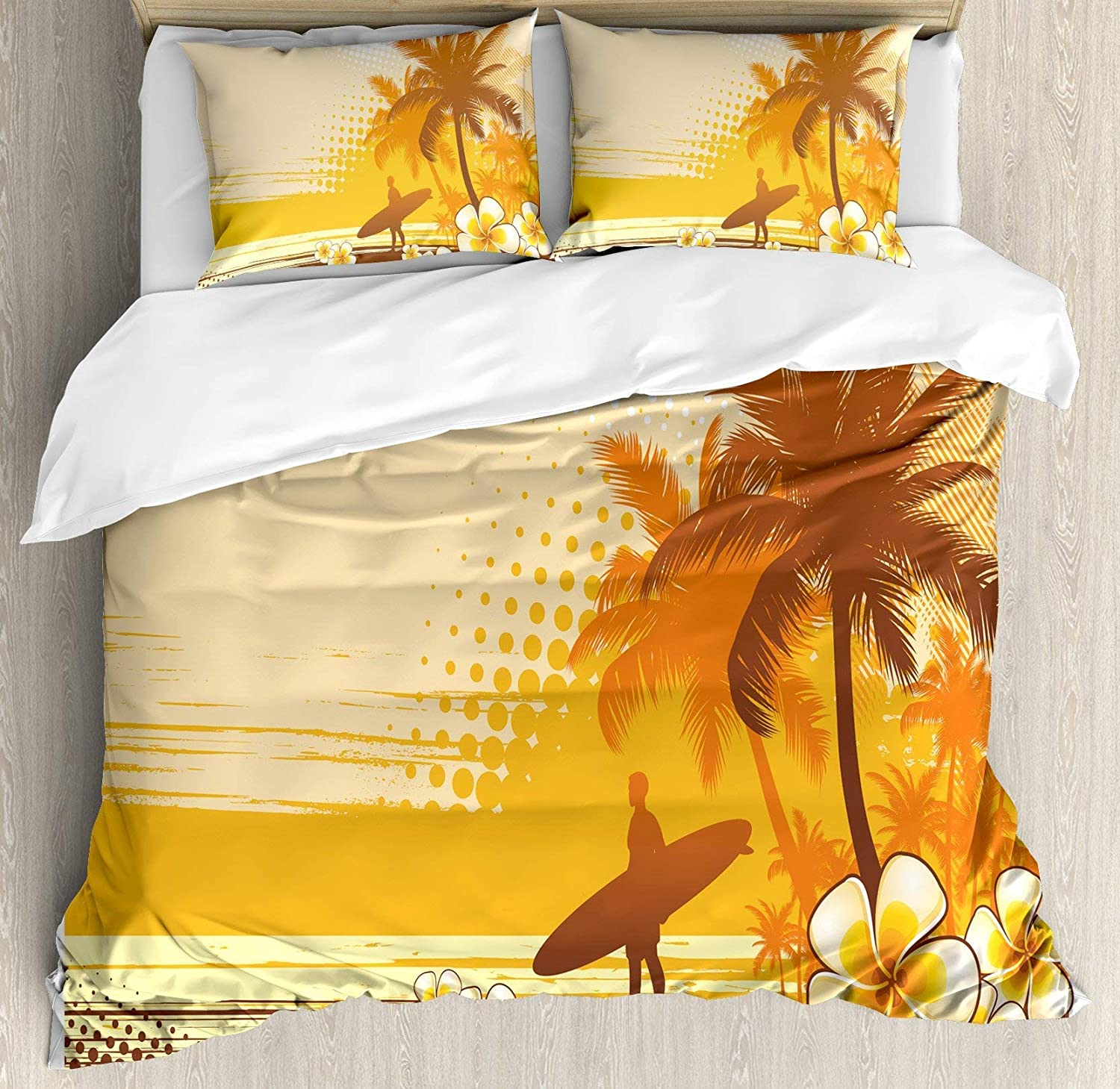 USOPHIA Surf 4 Pieces Bed Sheets Set Twin Size, Silhouette Surfer Tropical Landscape Free Your Mind Artsy Illustration Floral Duvet Cover Set, Yellow Brown orange