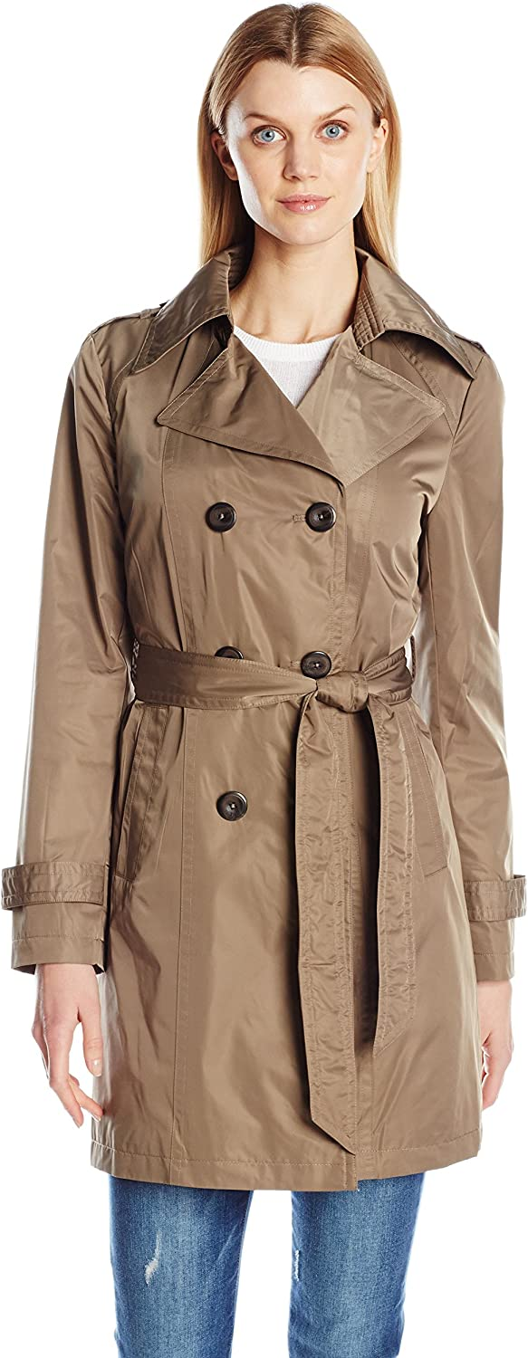 Ellen Tracy Outerwear Women's Double Breasted Techno Trench