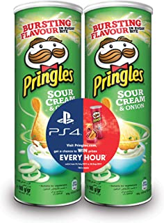Pringles Sour cream & onion Flavored Chips Gaming Bundle 165 grams Pack of 2 Cans
