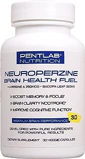 Best Natural Brain Function Booster - Memory, Focus & Clarity Formula - Nootropic scientifically formulated Bacopa Monneri Huperzine A, Neuroperzine Brain Health Fuel Pentlab 30 Veg Cap. Non-GMO
