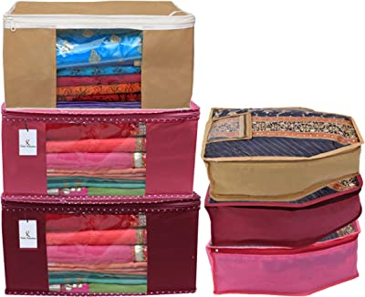 Kuber Industries Non Woven 3 Pieces Saree Cover/Cloth Wardrobe Organizer and 3 Pieces Blouse Cover Combo Set (Pink & Maroon & Brown)