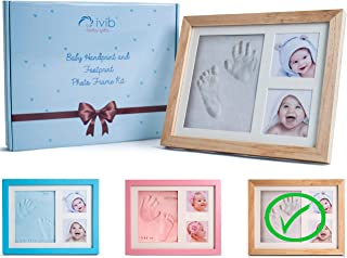 Baby Handprint & Footprint Photo Frame Kit - Premium Casting No Mold Clay - Box Ready for Boy Girls Baby Shower Gifts - Newborn Keepsake Personalized Picture Frames - Wall/table - Free Stamp Set- Wood