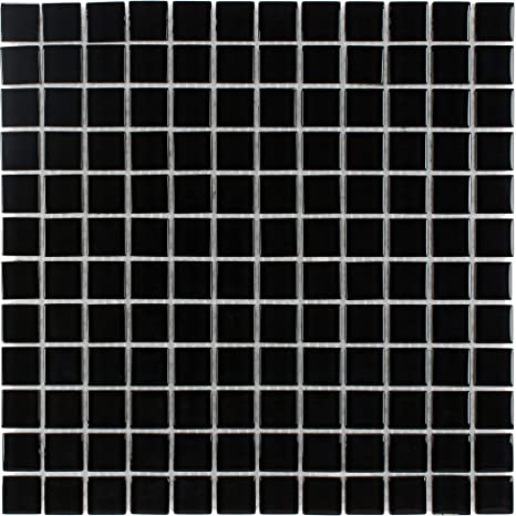 Mto0294 Classic Stacked Squares Black Glossy Glass Mosaic Tile Amazon Com