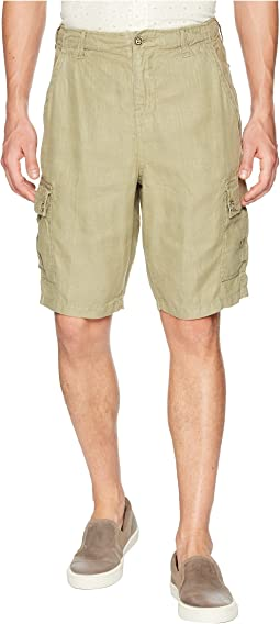 Textured Linen Vintage Washed Cargo Shorts with Stitch Details