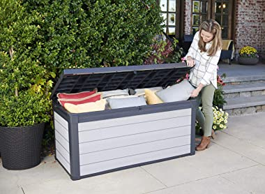 Keter Denali 150 Gallon Resin Large Deck Box-Organization and Storage for Patio Furniture, Outdoor Cushions, Garden Tools and