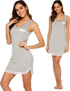 ملابس نوم نسائية صيفية ناعمة بلا أكمام/كم قصير ورقبة واسعة مع جيوب S-XXL