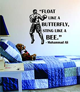 BIU Store Boxing Quote Float Like a Butterfly Sting Like a Bee Decal Sticker Wall Vinyl Cool Boxing Gloves Fight Sport Nice