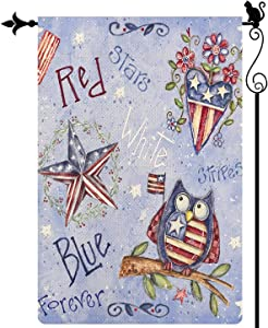 Gormcore Red White Blue Garden Flag Owl Patriotic Stripes Stars Garden Flag Independence Day Memorial Day Vertical Double Sided Rustic Farmland Burlap Yard Lawn Outdoor Decor 12.5x18