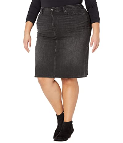 LAUREN Ralph Lauren Plus Size Curvy Sculpt Denim Skirt (Skyline Black Wash) Women