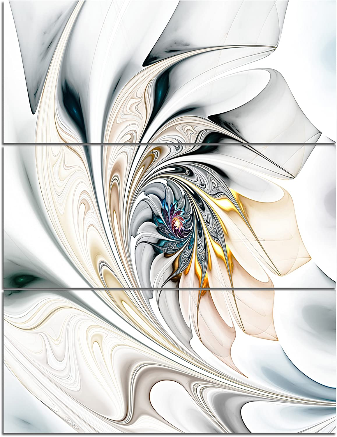 Designart Stained Glass Large Floral Wall Art Canvas-28X36 3 Piece, 28'' H?x?36'' W?x?1'' D 3P, White