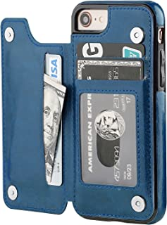 iPhone 8 Wallet Case with Card Holder,OT ONETOP iPhone 7 Case Wallet Premium PU Leather Kickstand Card Slots,Double Magnetic Clasp and Durable Shockproof Cover 4.7 Inch(Blue)