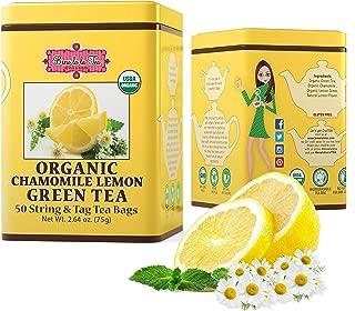 Brew La La Organic Green Tea - Natural Chamomile Lemon - 50 Tea Bag Tin - Low Caffeine Gourmet Tea - Certified Organic