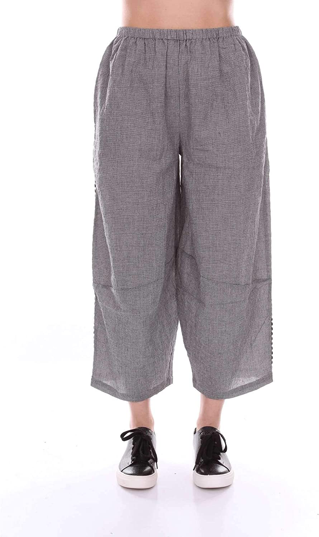 Akep Women's KE710GREY Grey Cotton Pants