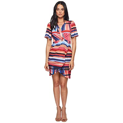 CATHERINE Catherine Malandrino Nyla V-Neck Short Sleeve Twist Front Mini Dress (Washed Stripe) Women