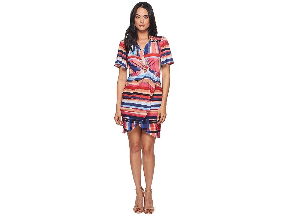 CATHERINE Catherine Malandrino Nyla V-Neck Short Sleeve Twist Front Mini Dress (Washed Stripe) Women