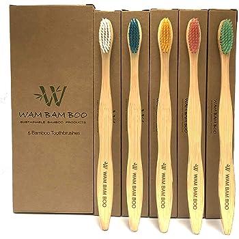 WAM BAM BOO I Bamboo Toothbrushes I Family Pack of 5 Toothbrushes I ECO Friendly Products I UK Design I Natural Wooden Toothbrush I Vegan Friendly I Soft to Medium Bristles I Environmentally Friendly
