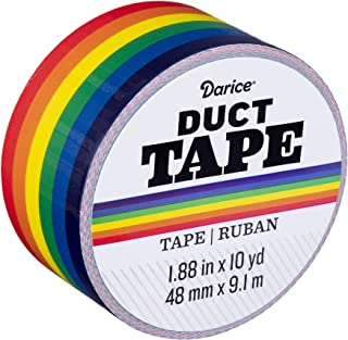 Darice 30079681 Patterned Primary Rainbow, 1.88 Inches x 10 Yards Duct Tape, Multicolor