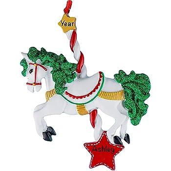 2020 Christmas Carousel Ornament Amazon.com: Personalized Carousel Horse Christmas Tree Ornament