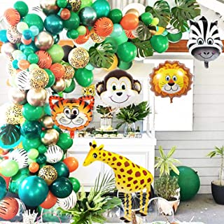 OuMuaMua Jungle Safari Theme Party Balloon Garland Kit - 151 Pack with Animal Balloons and Palm Leaves for Kids Boys Birth...