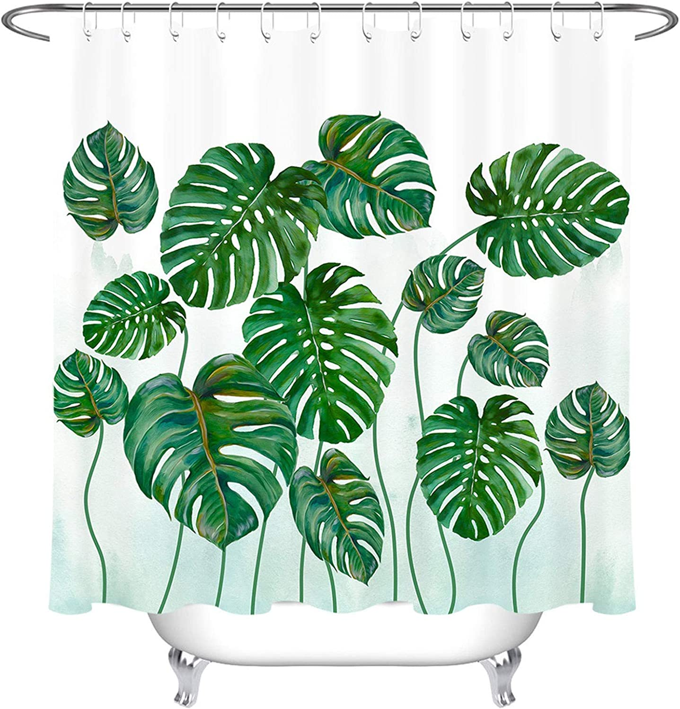 LB Tropical Fashion Green Leaves Max 58% OFF Shower Curtain Palm Leaf Jungle Banana