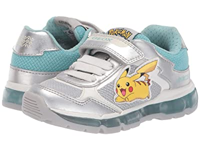 Geox Kids Android Girl 22 (Toddler) (Silver/Aqua) Girl