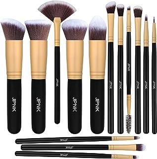 JPNK Synthetic Makeup Brush Set Cosmetics Foundation Blending Blush Eyeliner Face Powder Brush Makeup Brush Kit (Golden)