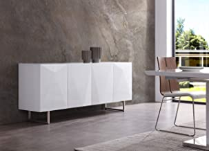 Whiteline Modern Living Paul Buffet/Sideboard in High Gloss White or Grey with Designs on Doors and Brushed Nickel Legs
