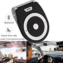 TEASTAR Bluetooth in-Car Speakerphone Handsfree with Mic Multipoint Bluetooth Wireless Sun Visor Car Kit with Car Charger Clip for Apple iPhone iPad Samsung HTC LG (Car Speakerphone)