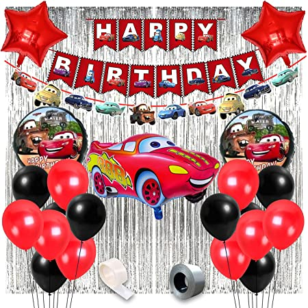 Party Propz McQueen Car Birthday Theme Decorations for Party Supplies 50Pcs Combo Set for Kids Birthday Decoration / Boys Birthday Decoration Items / Car Birthday Theme Decoration