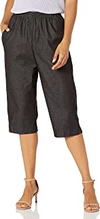Alfred Dunner Women's Petite Black Denim Proportioned Medium Pant