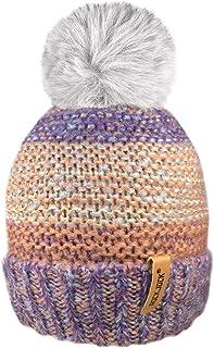 ROCKJOCK Damen warme Fleece gef/üttert gestrickte Schirmm/ütze Baseballm/ütze mit abnehmbarem Kunstpelz pom mit oder ohne POM tragen