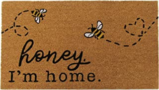"Elrene Home Fashions Farmhouse Living Honey I'm Home Bee Coir Doormat, 18"" x.."