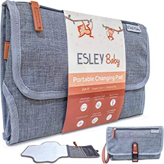 Baby Portable Changing Pad, Travel Diaper Clutch with Portable Changing Mat (Gray)