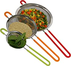 K BASIX Fine Mesh Stainless Steel Strainer with Silicone Handle Set of 3 - Large, Medium & Small Size - Ideal to Strain Pa...