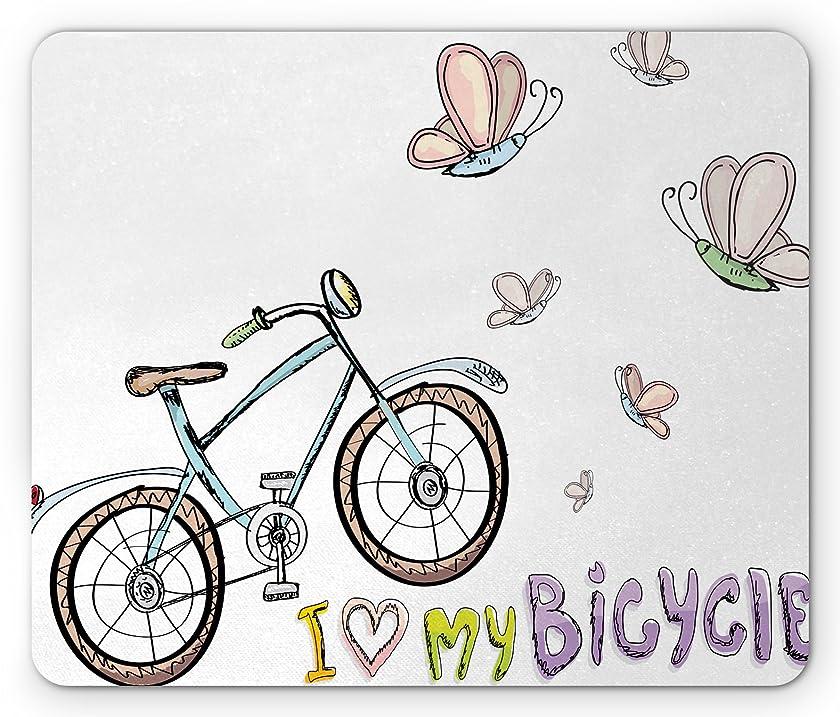 Lunarable Bicycle Mouse Pad, Doodle Style Cycling Leisure Theme a Little Kids Fashionable Bike Butterflies, Standard Size Rectangle Non-Slip Rubber Mousepad, Multicolor