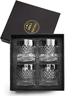 RORA Whiskey Glasses Set of 4 with Luxury Gift Box - 11 oz Old Fashioned Rocks Glasses Tumblers, Glassware for Cocktail Sc...