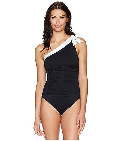 LAUREN Ralph Lauren Bel Aire One Shoulder Tie One-Piece Swimsuit (Black/White) Women