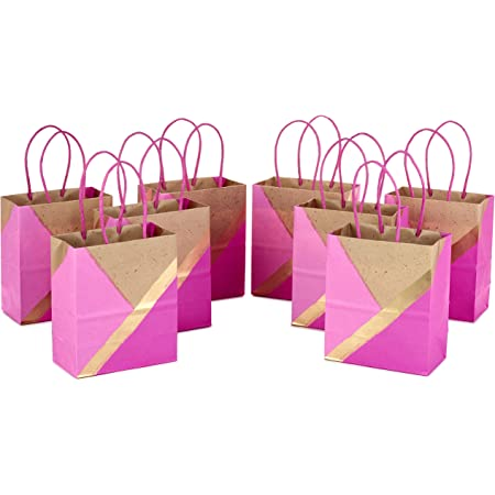 """Hallmark 6"""" Small Paper Gift Bags (Pack of 8, Pink and Kraft) for Birthdays, Easter, Weddings, Mother's Day, Baby Showers, Bridal Showers, Care Packages, May Day"""