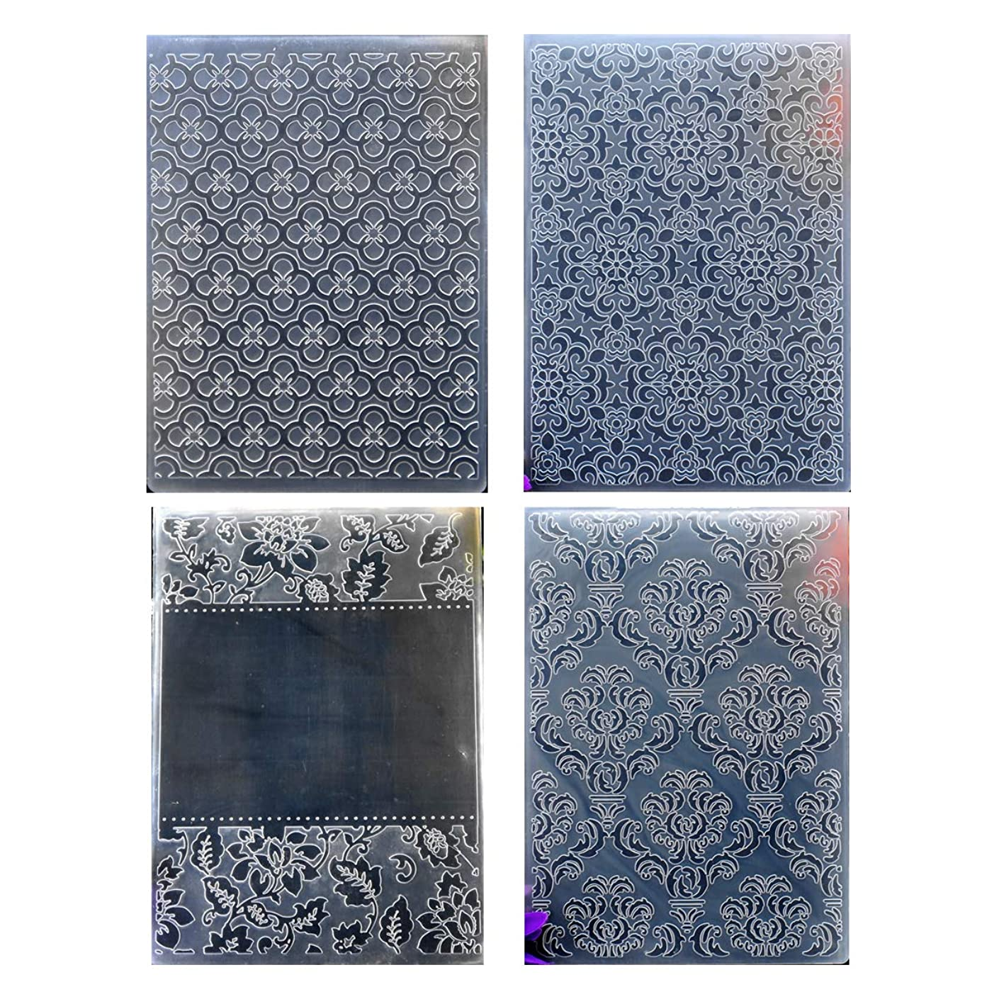 Kwan Crafts 4 pcs Different Style Flowers Plastic Embossing Folders for Card Making Scrapbooking and Other Paper Crafts,12.5x17.7cm