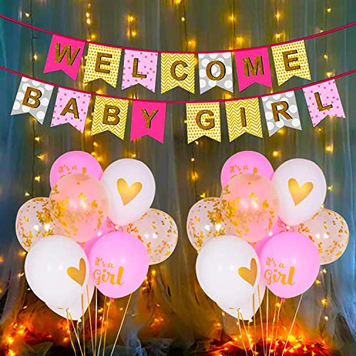 Party Propz Baby Girl Welcome Home Decoration Kit 11Pcs Banner, Balloon with Fairy Light for Baby Shower / Welcome Pa...