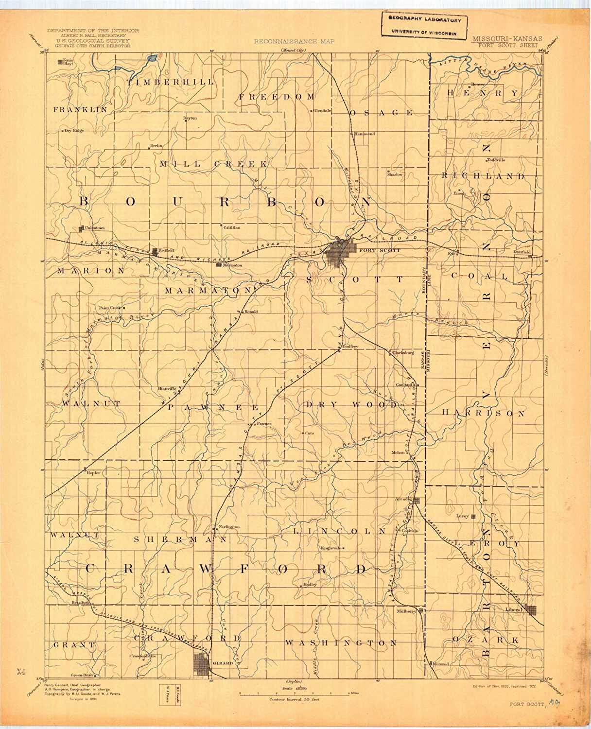 Fort Scott KS topo map, 1 125000 Scale, 30 X 30 Minute, Historical, 1893, Updated 1922, 20.3 x 16.5 in