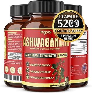Organic Ashwagandha Capsules 5200mg, Highest Potency with Turmeric, Ginger, Black Pepper & Rhodiola |Mood Enhancer, Adrena...