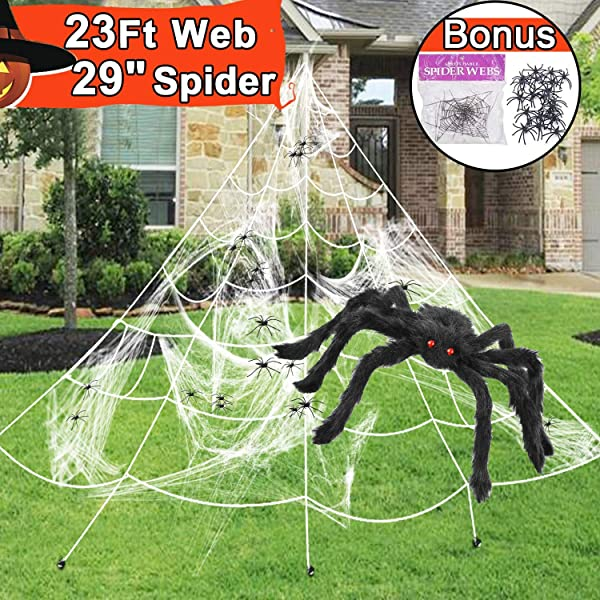 23 Feet Spider Web Halloween Decorations Outdoor Triangular Huge Spider Webs With Super Stretch Cobwebs Large Spider 29 5 And 20 Small Spiders 1 5 Party Set Yard Lawn Decor Props For Haunted House