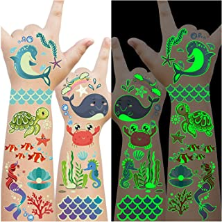 Luminous Under the Sea Birthday Party Decorations, 145 Styles Glow Temporary Tattoos for Kids, Under the Sea Ocean Beach P...
